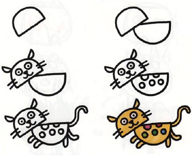 Поэтапное рисование бегущего котенка