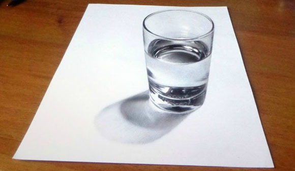 realistichnii-risunok-stakan Как нарисовать 3д (3d) рисунок на бумаге карандашом