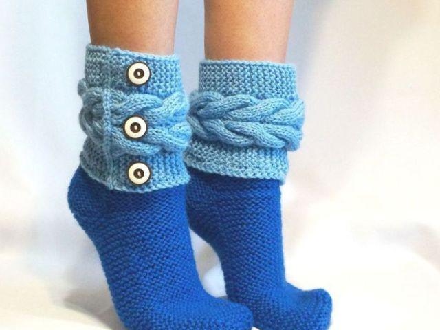 как связать женские мужские и детские носки на 2 спицах простой