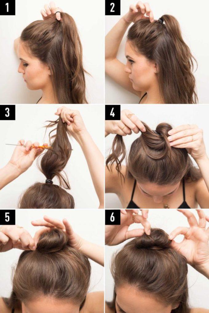 Схема создания полупучка на длинных волосах