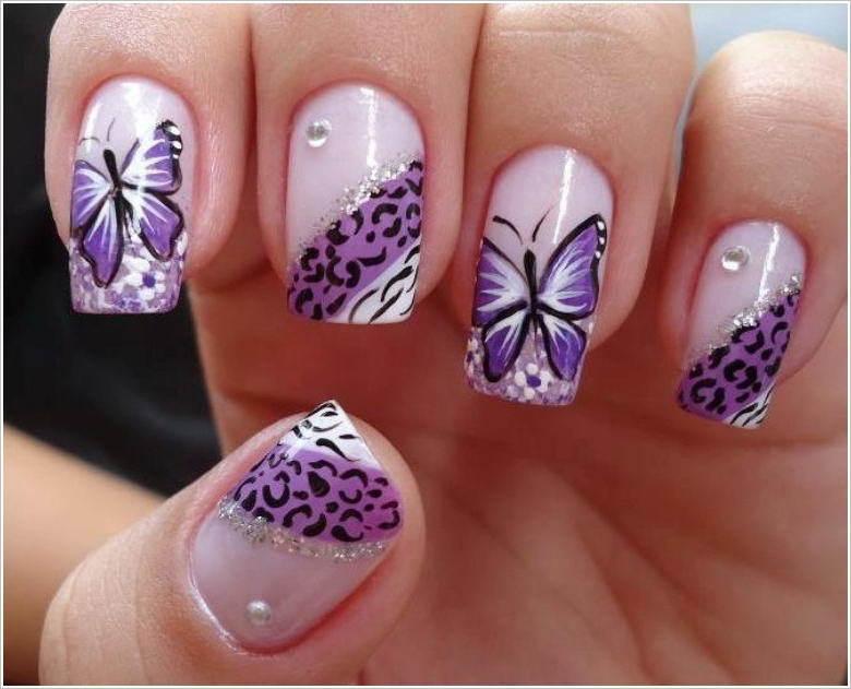 Летний маникюр шеллак с бабочками