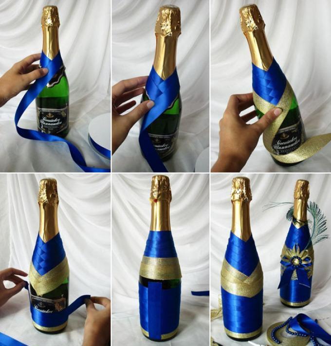 fed17488acd385f7ec1e52feda86bca2 Декупаж бутылок своими руками: свадебных, на день Рождения, Новый год. Как сделать декупаж свадебных бутылок шампанского и бокалов?