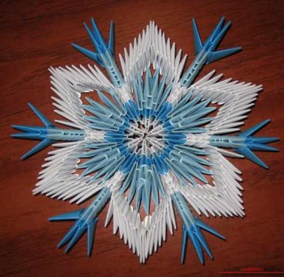 snezhinka-vipolnena-v-tehnike-origami Как крючком связать красивую снежинку? Снежинки крючком: узор, схемы с описанием для начинающих