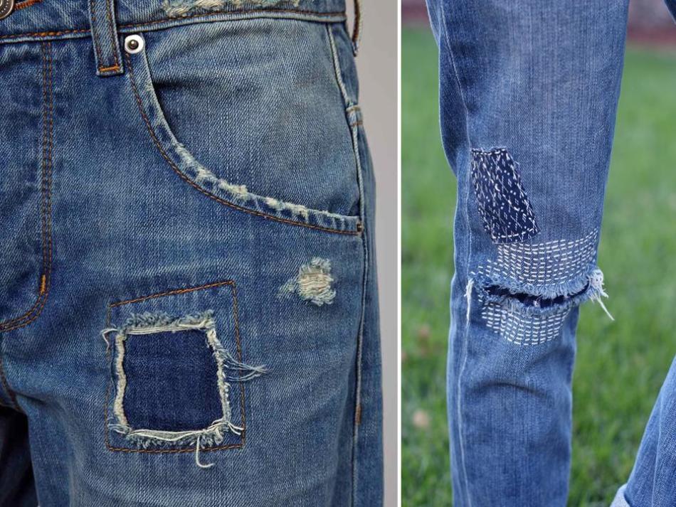 различные технологии, как зашить джинсы на коленке вручную фото зимой